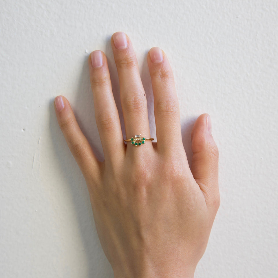 Emerald Baguette Arch Ring