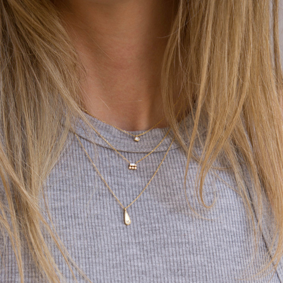 Baguette 3 Dot Necklace