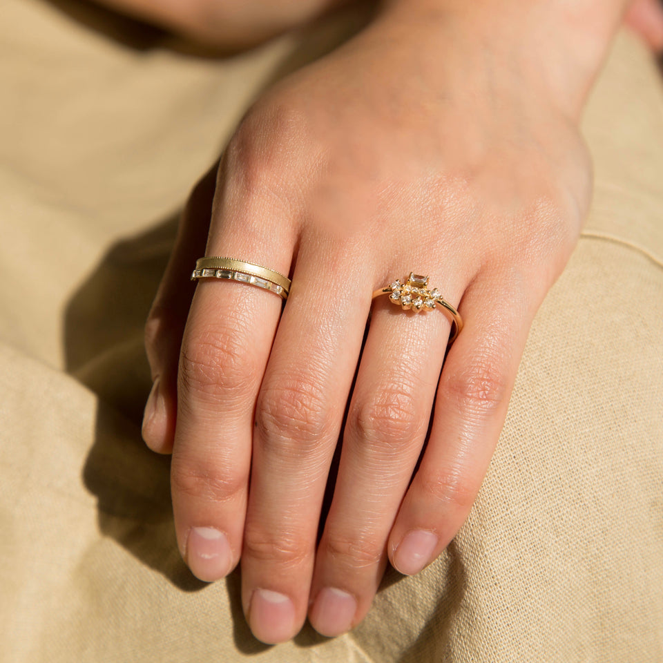 White Diamond Baguette Arch Ring