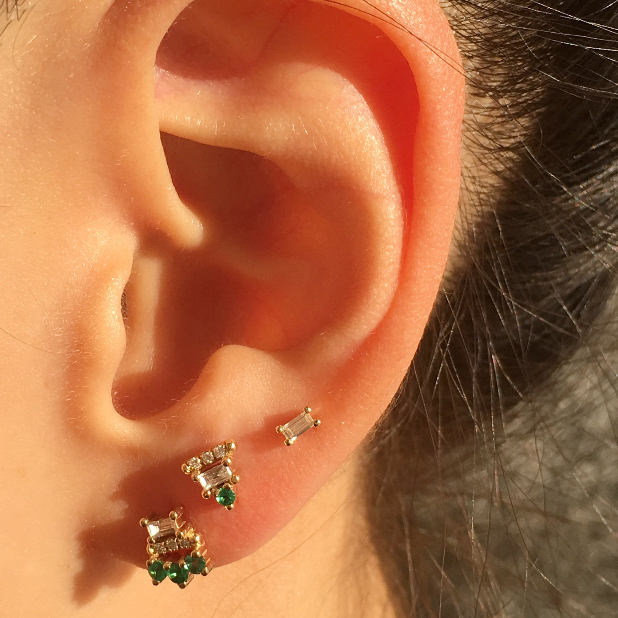 JKD Emerald Lace Stud paired with JKD studs on ear