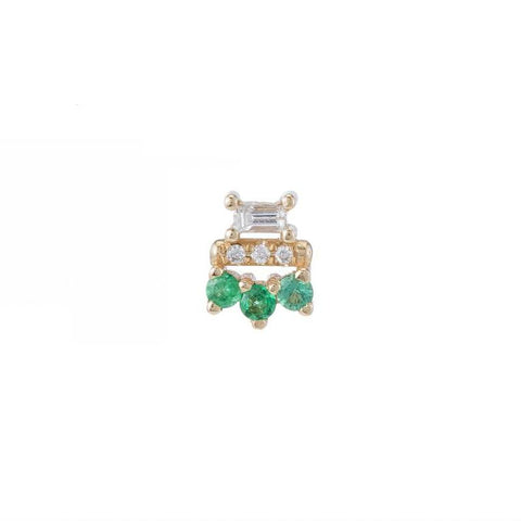 Yellow gold stud with Three 3 mm emeralds, one 3 x 1.5mm baguette diamond, three 1mm diamonds.