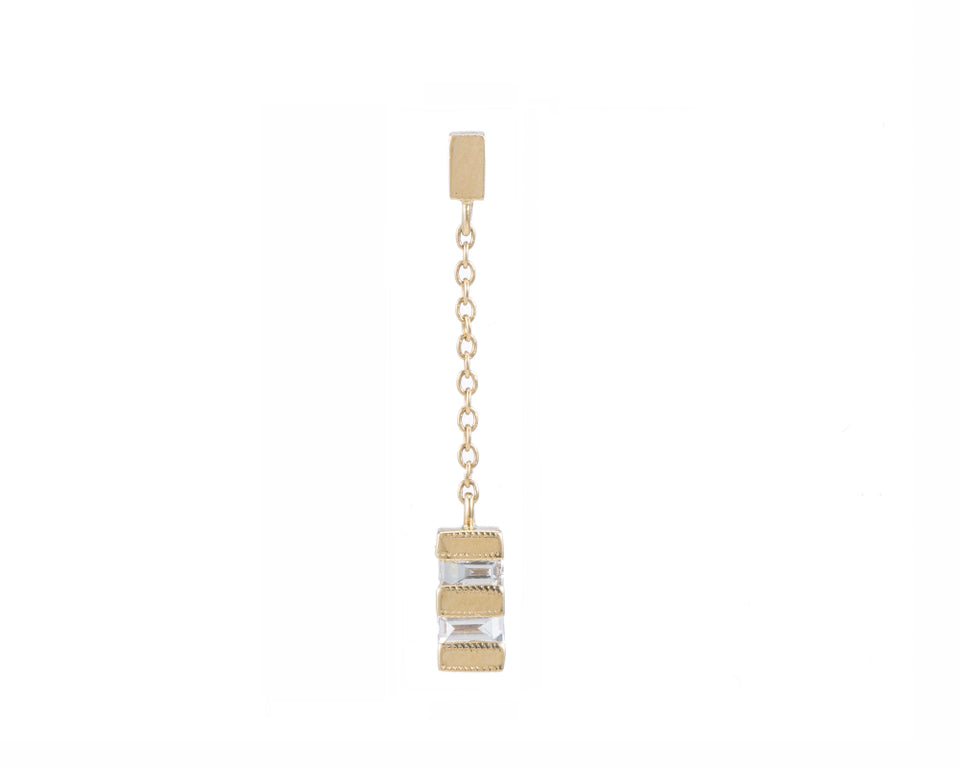 Baguette Stack Drop Earring (Single)