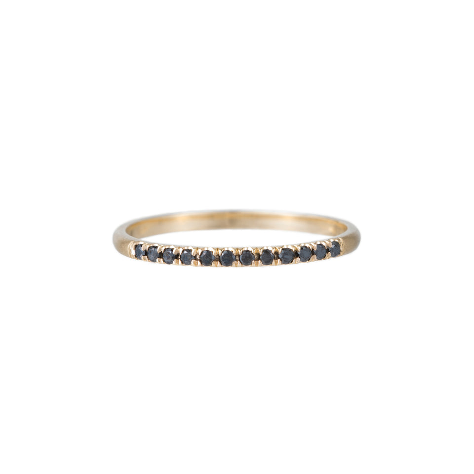 Black Diamond Half Round Semi Pave Ring