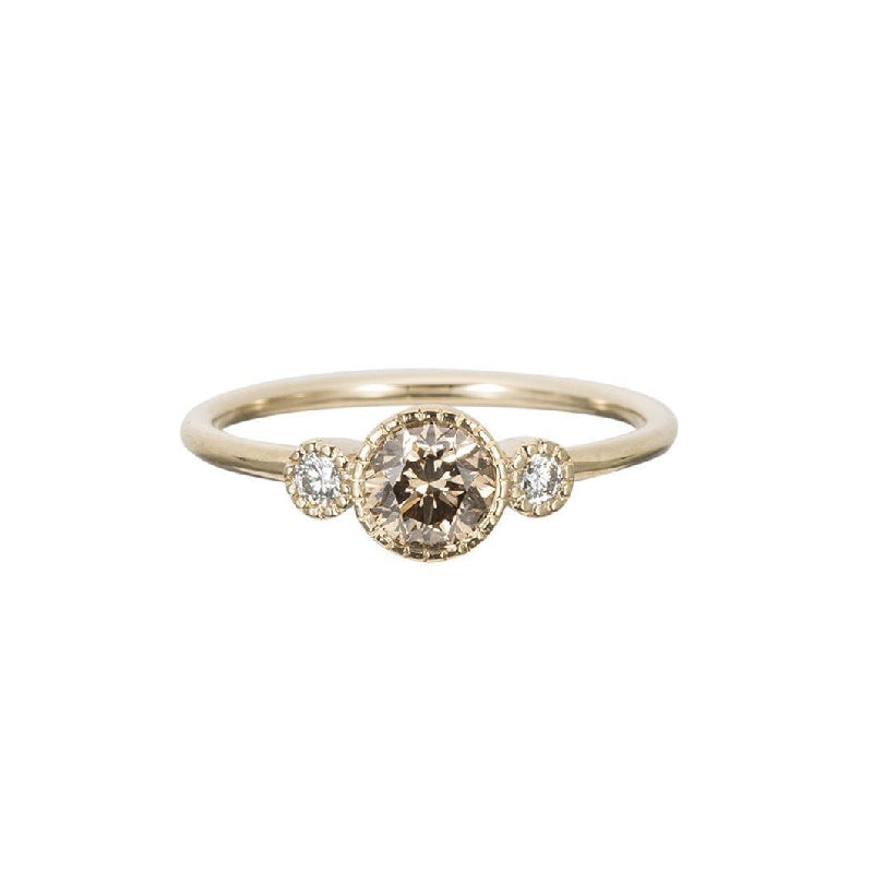 Champagne Diamond Round Ring