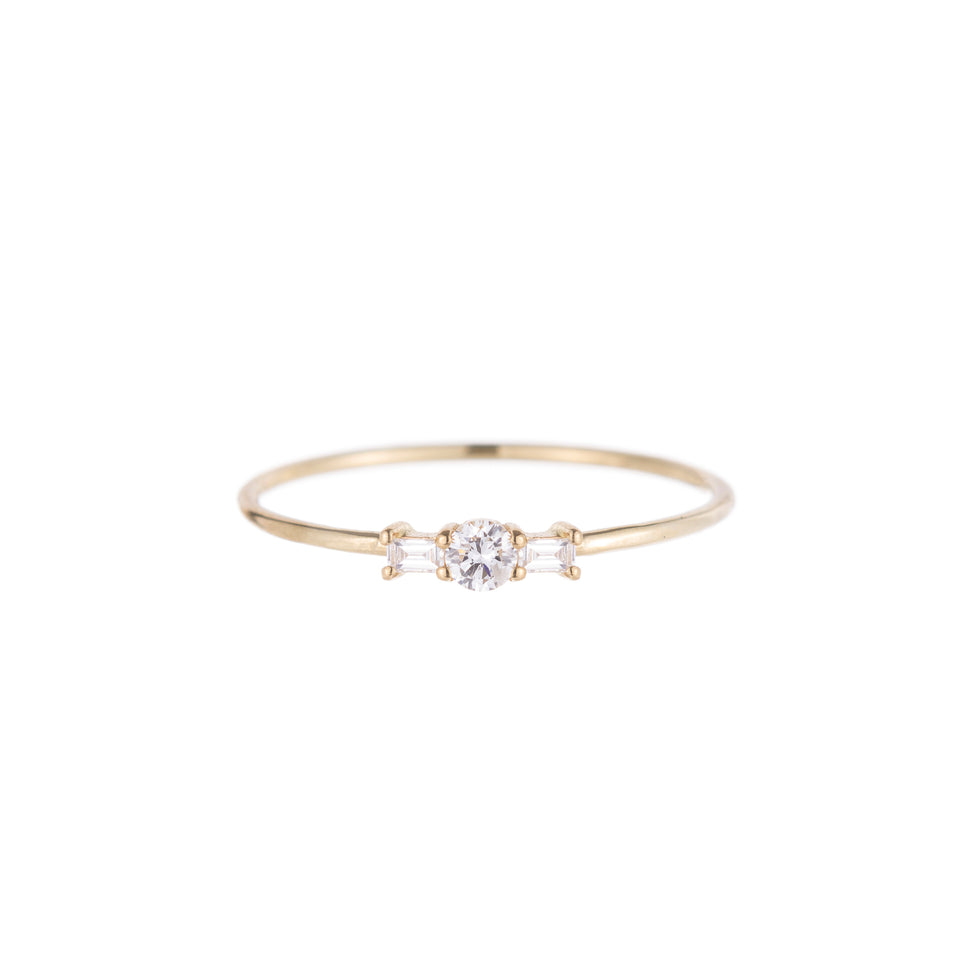Round Diamond Baguette Whisper Ring