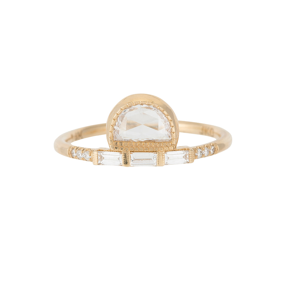 ROSE CUT HALF MOON DIAMOND BAGUETTE EQUILIBRIUM RING