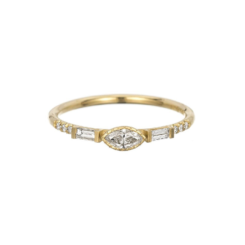 Diamond Marquise Baguette Equilibrium Ring