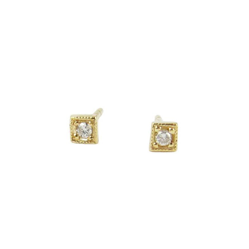 Diamond Mini Square Studs (Pair)