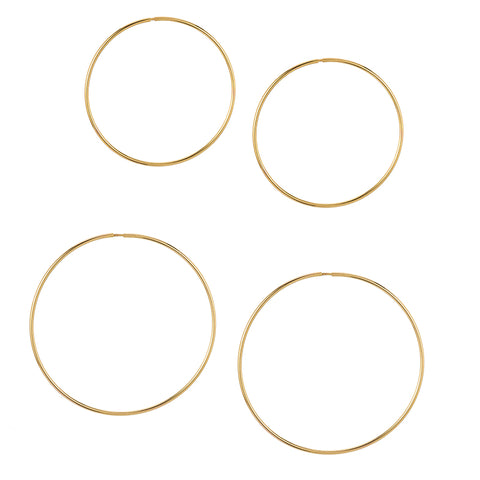 14k HOLLOW HOOPS - SMALL