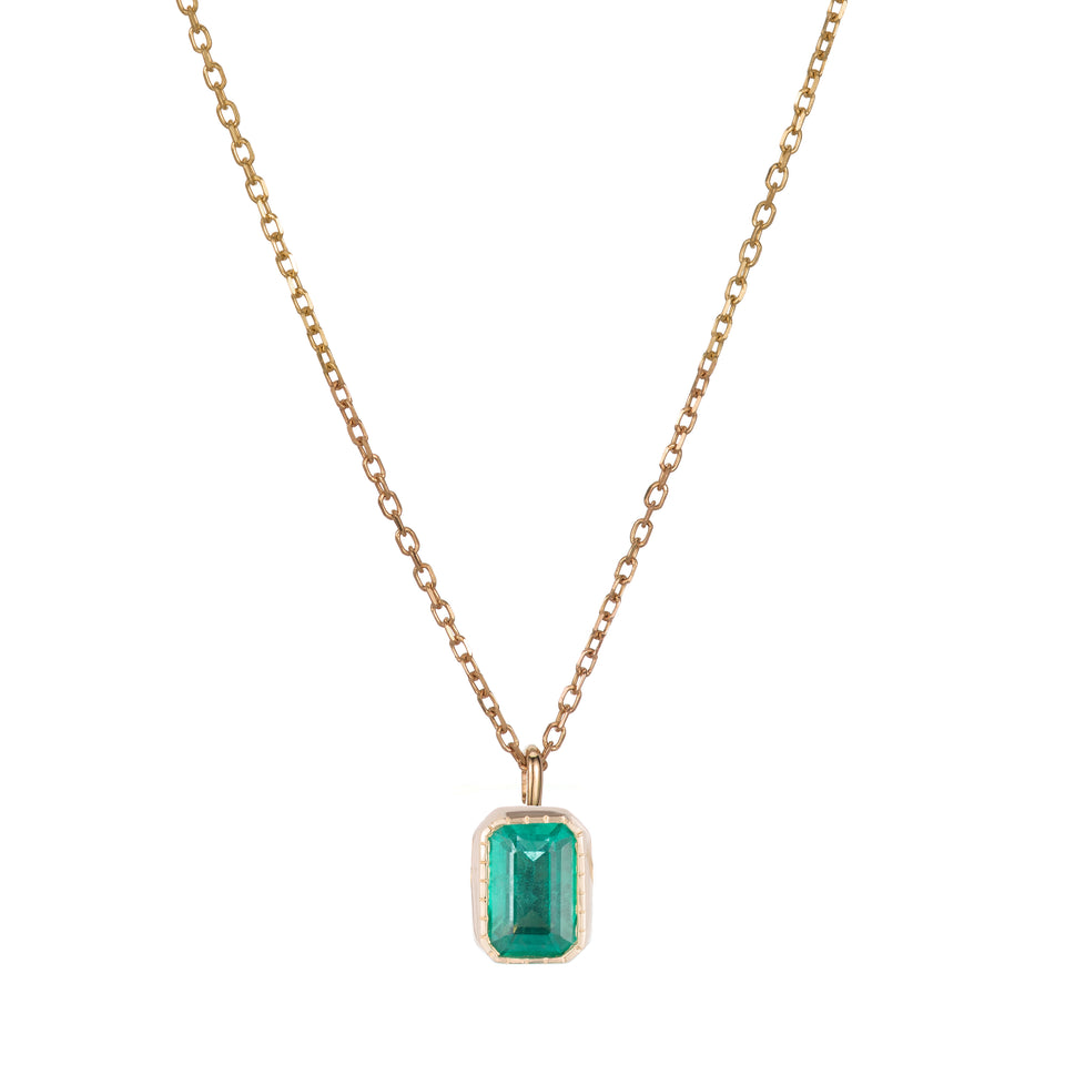 EMERALD CUT EMERALD WISP NECKLACE
