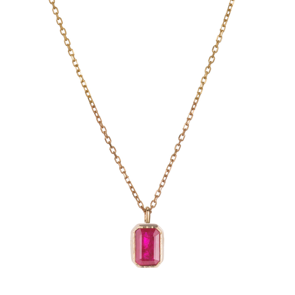 EMERALD CUT RUBY WISP NECKLACE