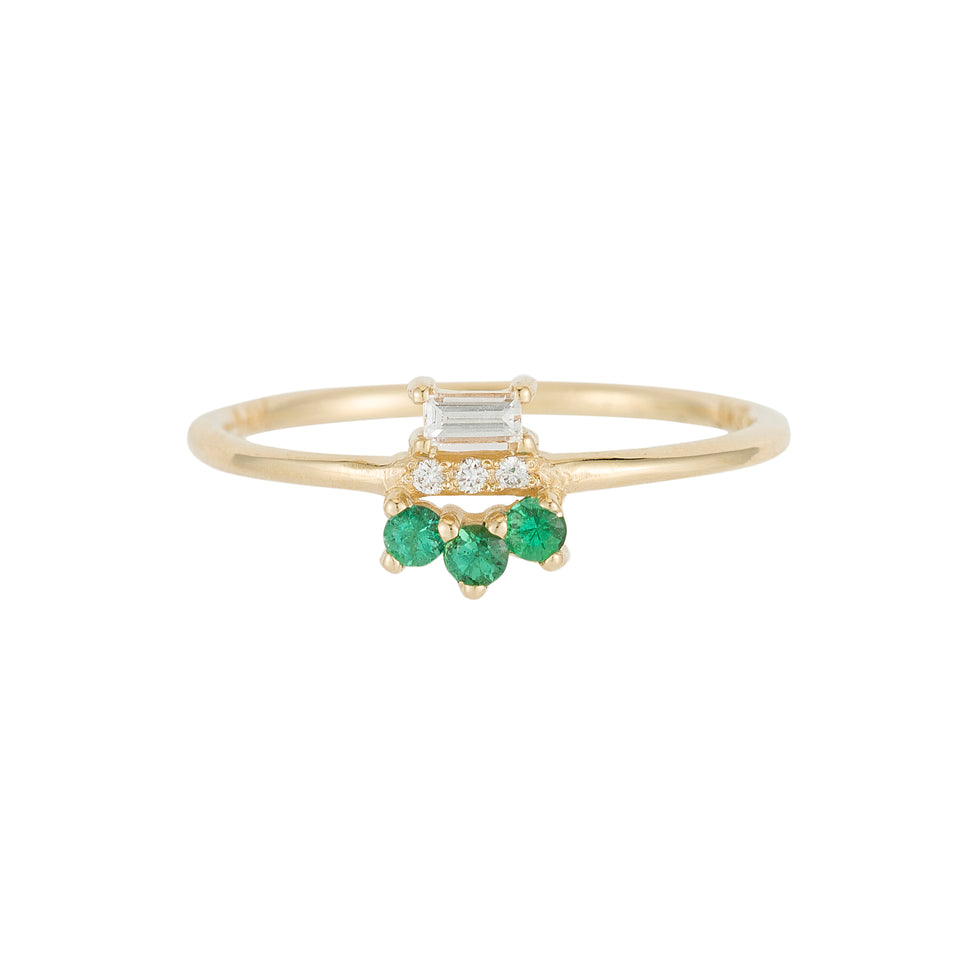 Emerald Baguette Lace Ring