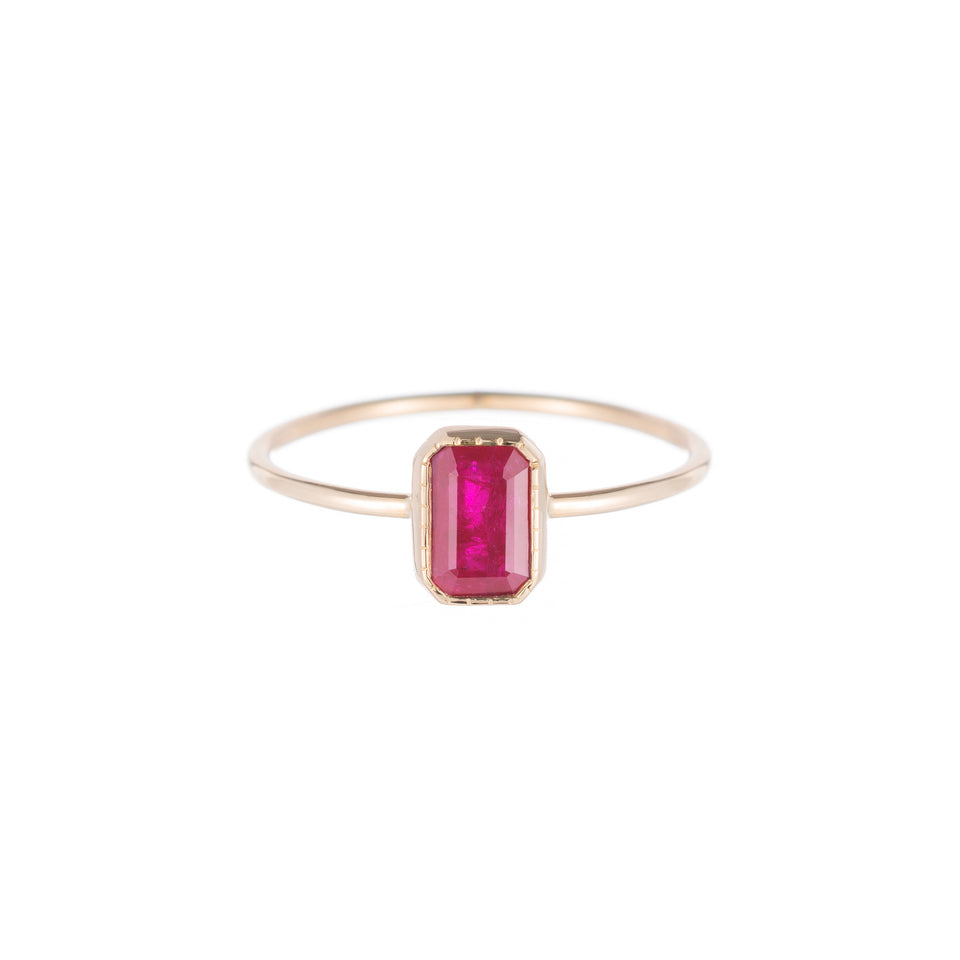 Emerald Cut Ruby Wisp Ring