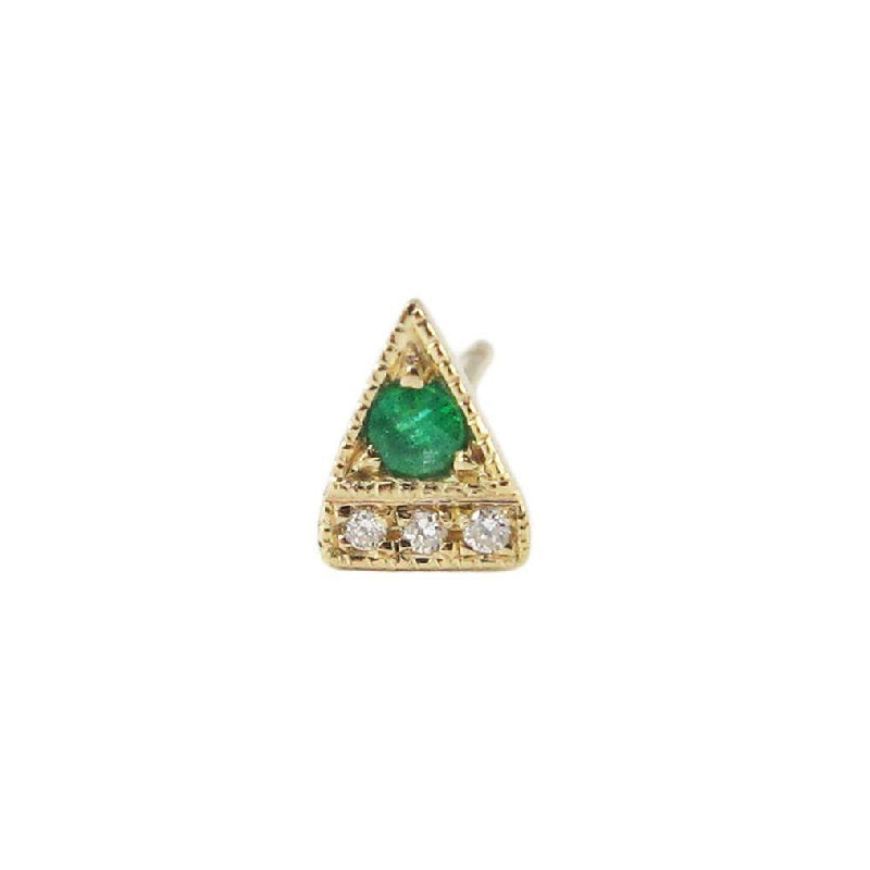 Emerald Deco Point Triangle Stud (Single)