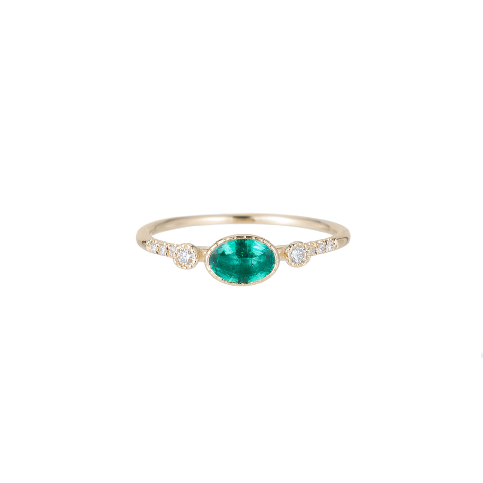 Emerald Diamond Dew Equilibrium Ring