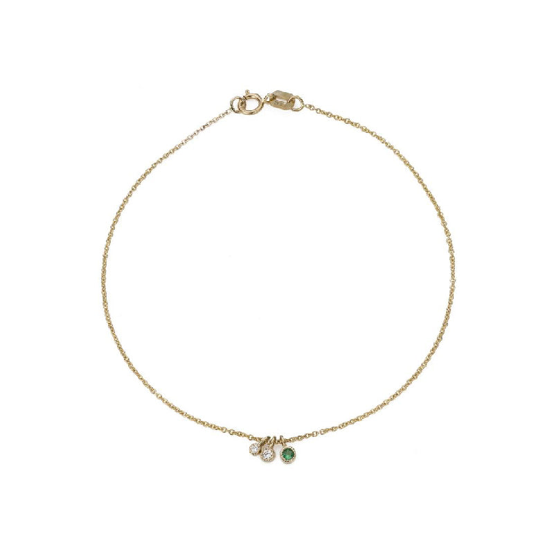 Emerald Diamond Moon Drop Bracelet