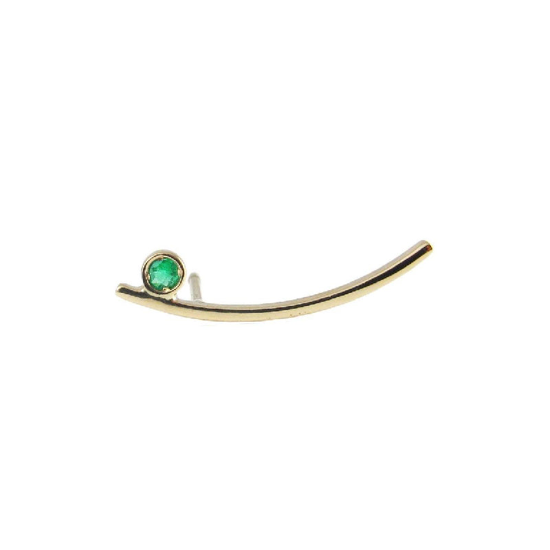 Emerald Long Curved Bar Stud (Single)