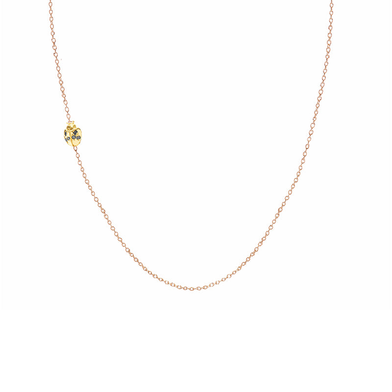 Floating Diamond Ladybug Necklace