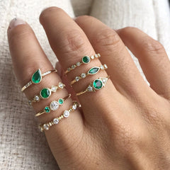 DIAMOND EMERALD TRIO RING