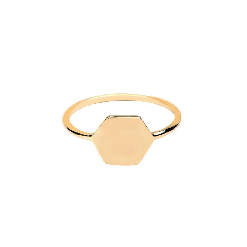Hexagon Initial Signet Ring