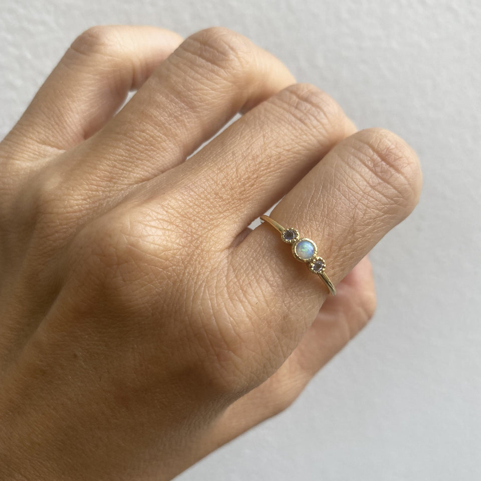 Opal Tanzanite Trio Ring