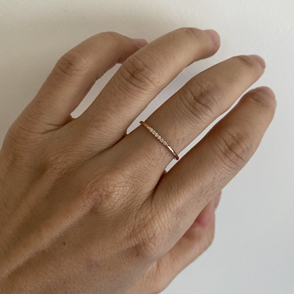 White Semi Pave Ring