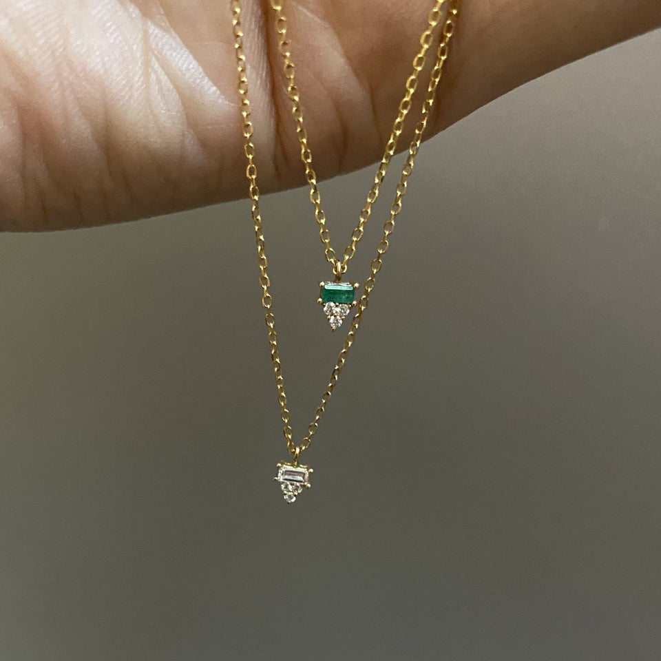EMERALD BAGUETTE CLUSTER NECKLACE