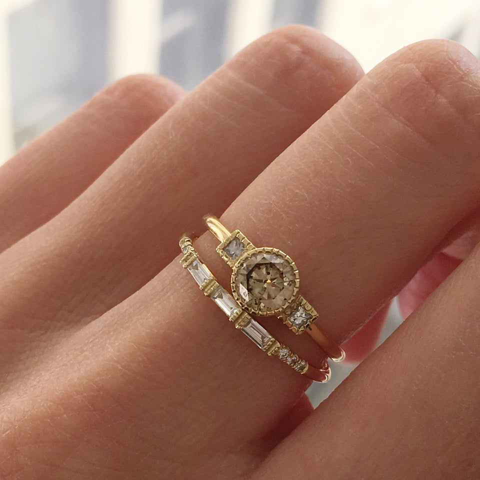 Champagne Diamond Square Ring