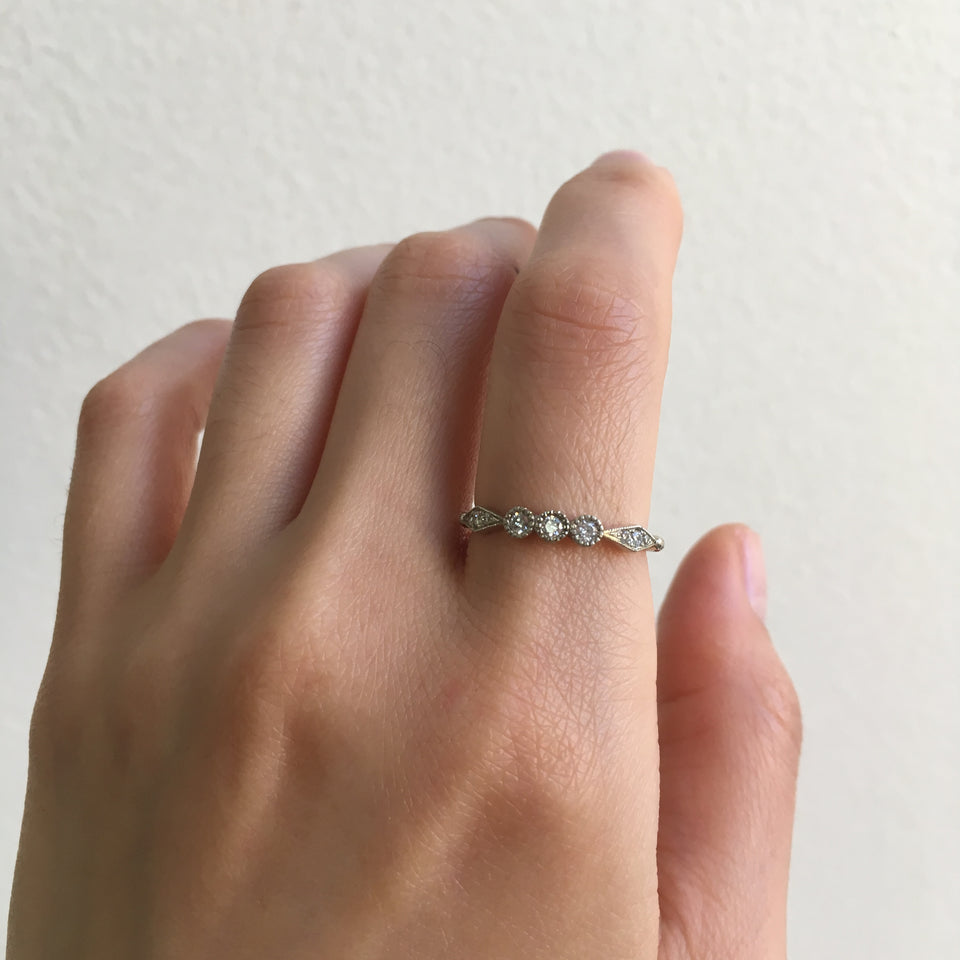 3 Diamond Kite Ring