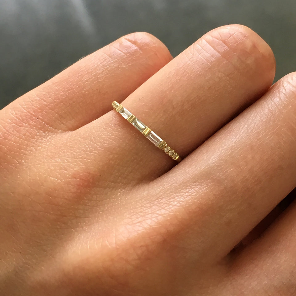 detail, 3 Baguette Equilibrium Ring on Ring Finger