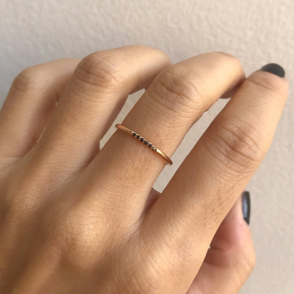Black Semi Pave Ring