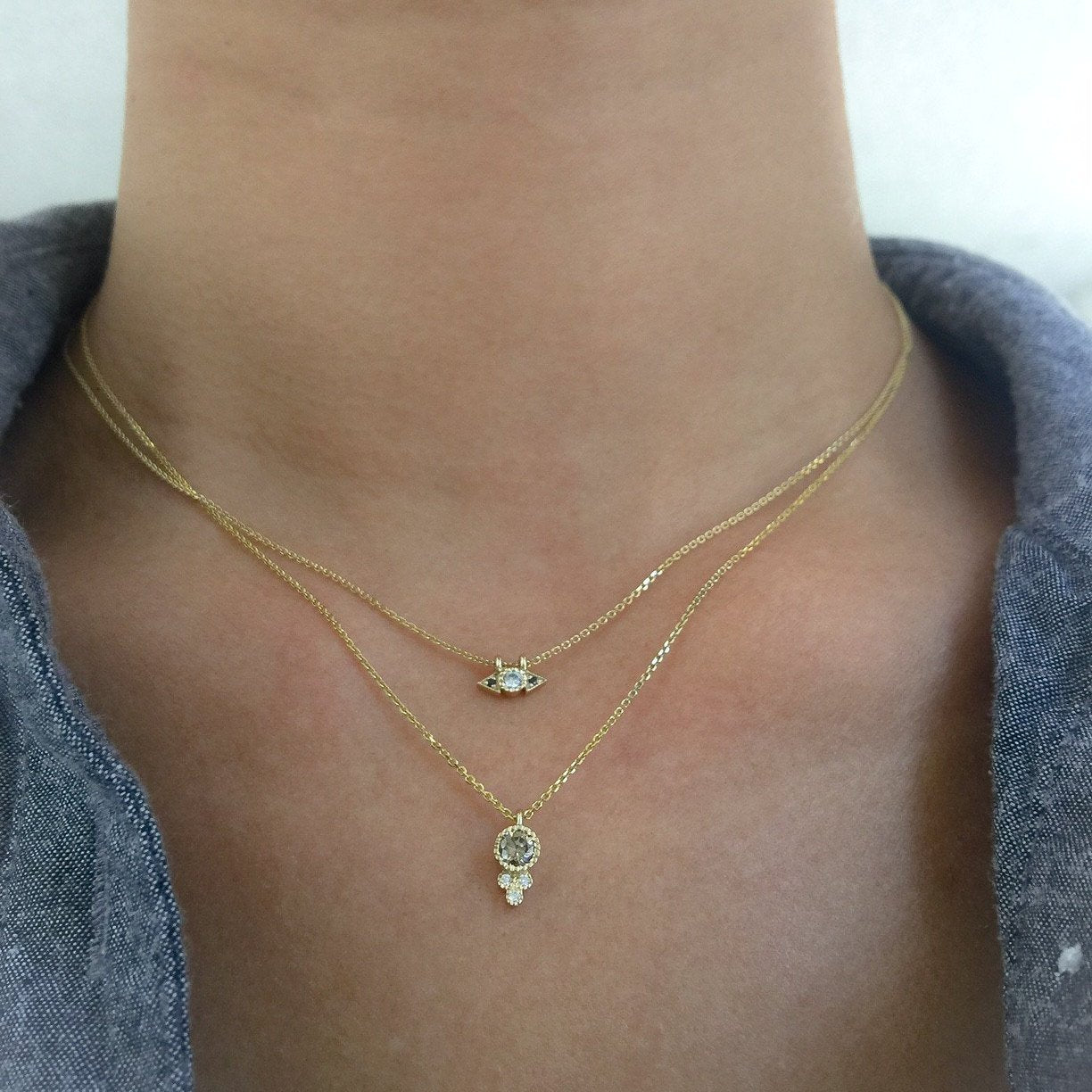 ROUND CHAMPAGNE DIAMOND CROWN NECKLACE