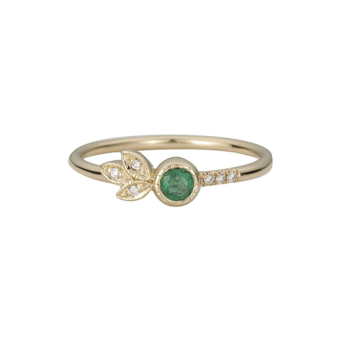 EMERALD LEAF RING