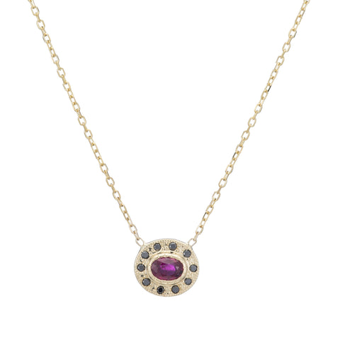 RUBY HALO NECKLACE