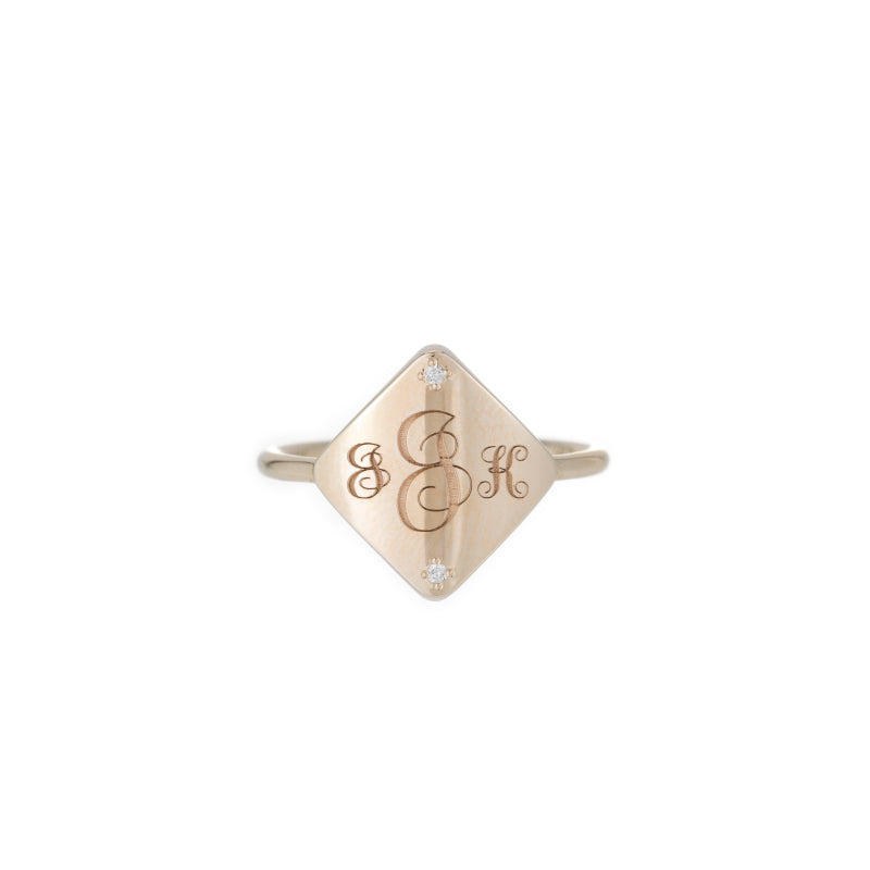 Square Diamond Guardian Signet Ring