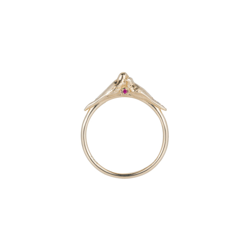 Ruby Hearts Lovebirds Ring
