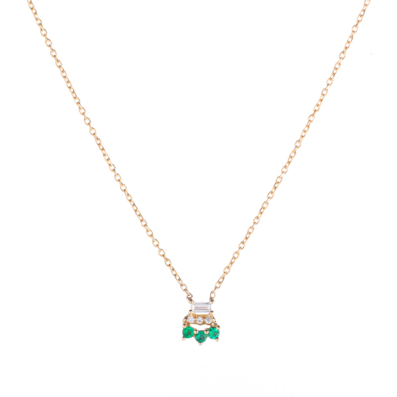 Baguette Emerald Lace Necklace