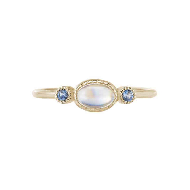 Moonstone Sapphire Reese Ring, moonstone, sapphires, dainty jewelry, stacking rings, alternative bridal, 14K, fine jewelry