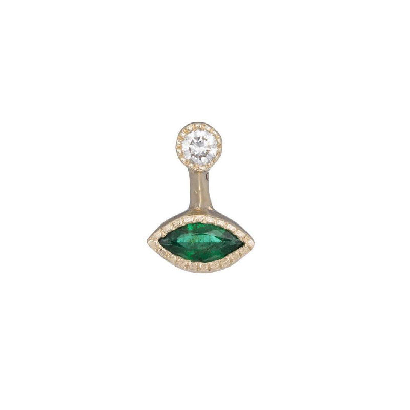 Marquise Emerald Drop Stud (Single)