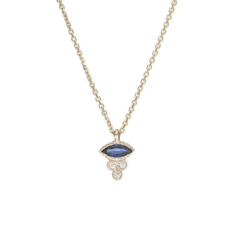 Marquise Sapphire Crown Necklace