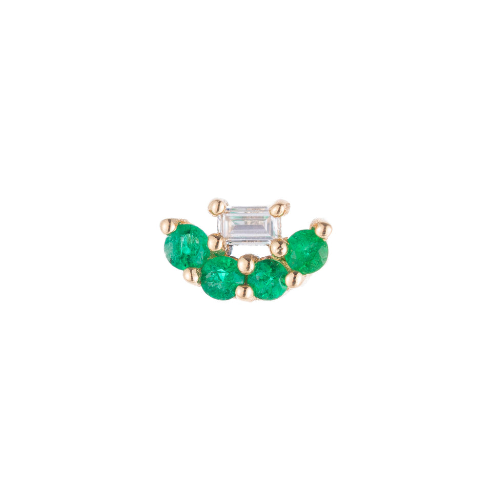 Mini Baguette Emerald Lace Stud (Single)