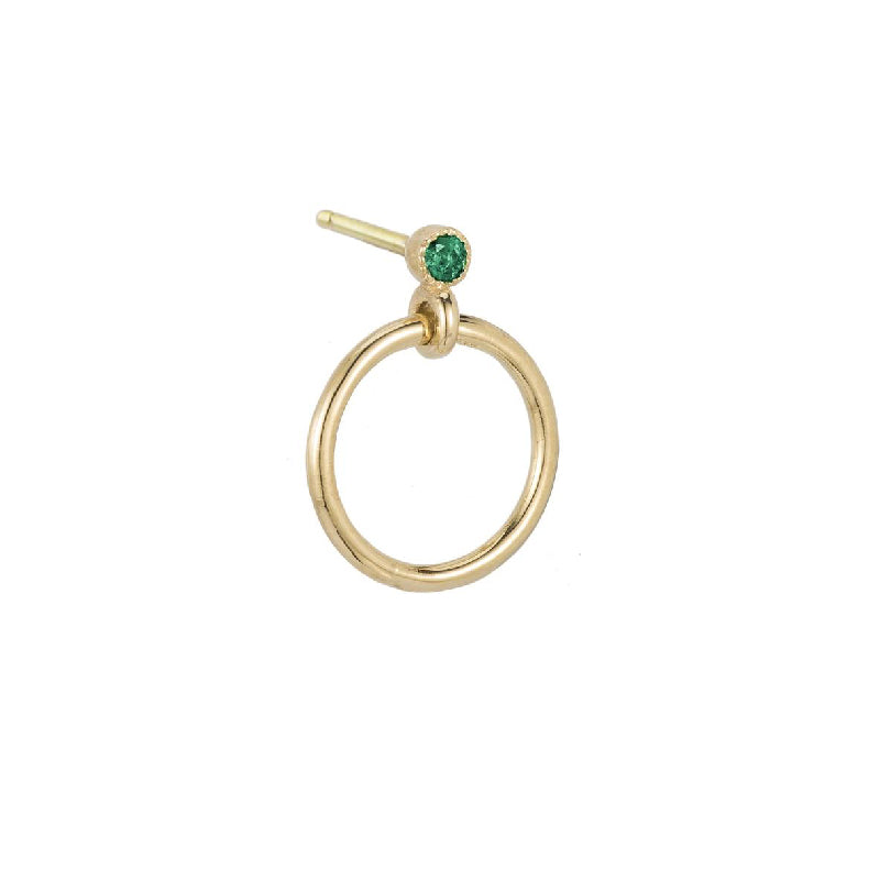 Mini Emerald Eternity Dangle Earring (Single)