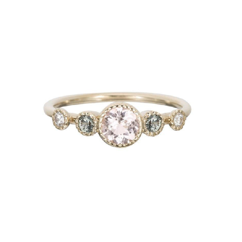 Morganite Green Sapphire Diamond Dew Ring
