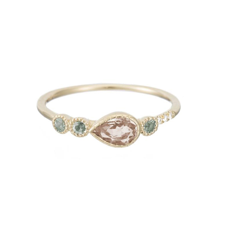 Morganite Teardrop Dew Ring