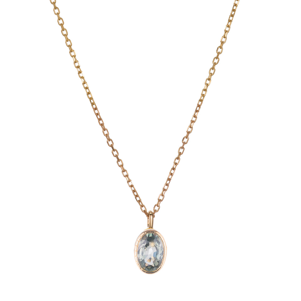OVAL GREEN SAPPHIRE WISP NECKLACE