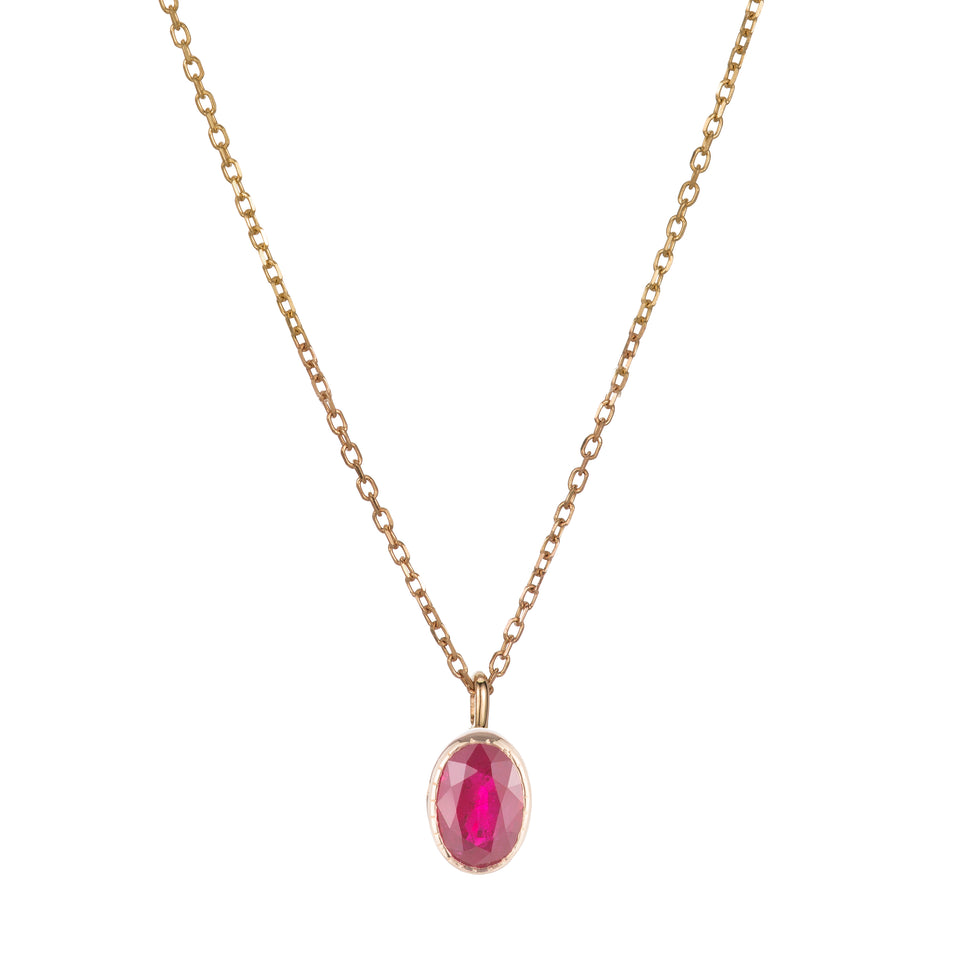 OVAL RUBY WISP NECKLACE