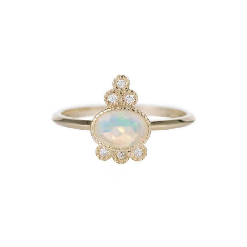 Opal Crown 6 Diamond Ring