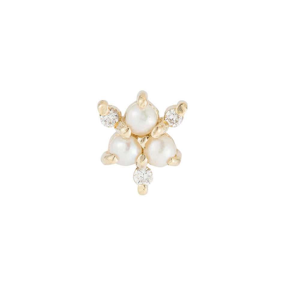 Pearl Diamond Snowflake Stud (Single)