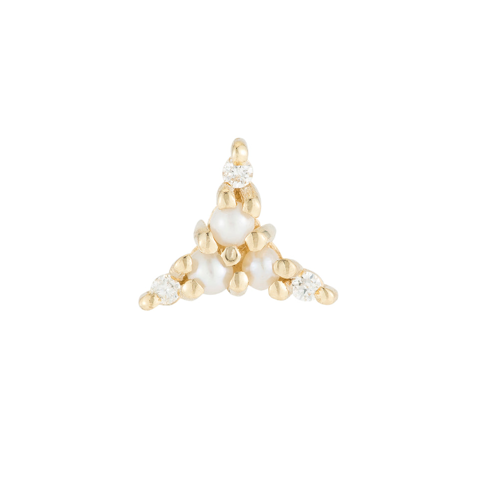 Pearl Diamond Triad Stud (Single)