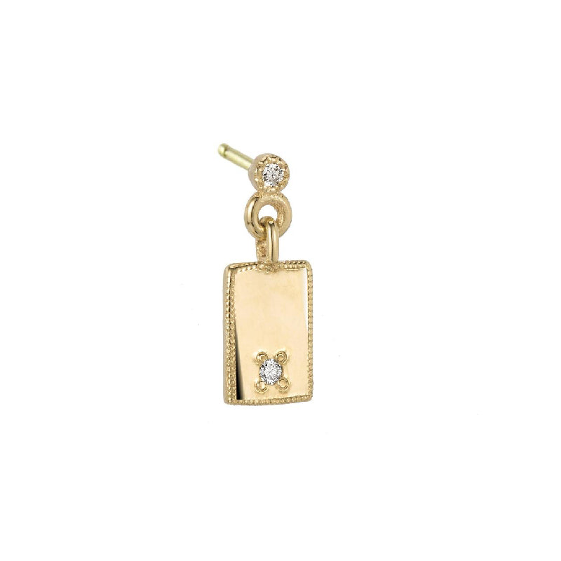 Rectangle Diamond Mirror Dangle Earring (Single)